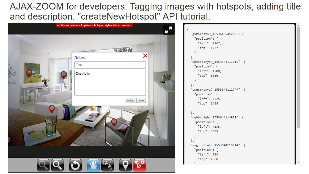 javascript tagging images with hotspots