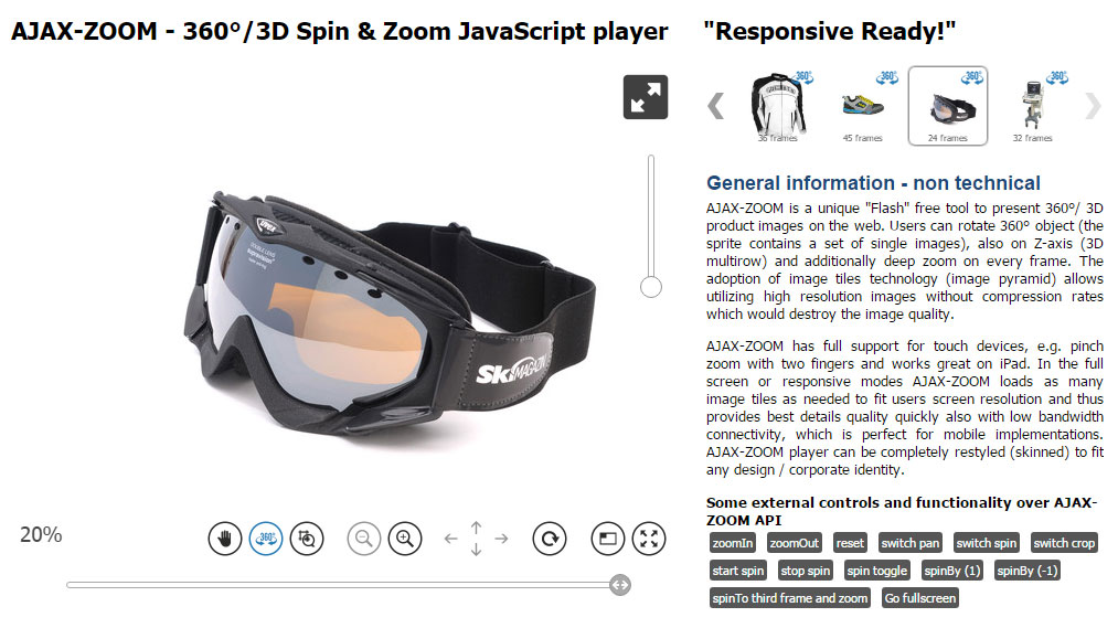 3D Spin Rotate & Zoom 360 product viewer Javascript jQuery