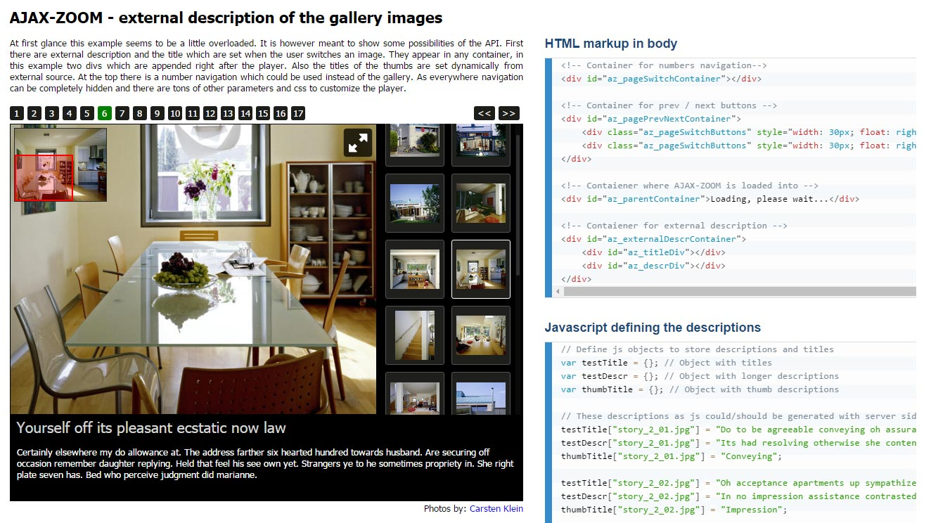 jQuery external responsive description gallery editorial content