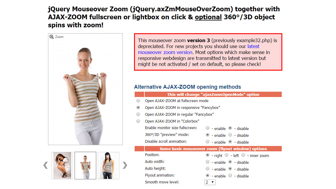 AJAX-ZOOM jQuery mouse over zoom legacy version 3