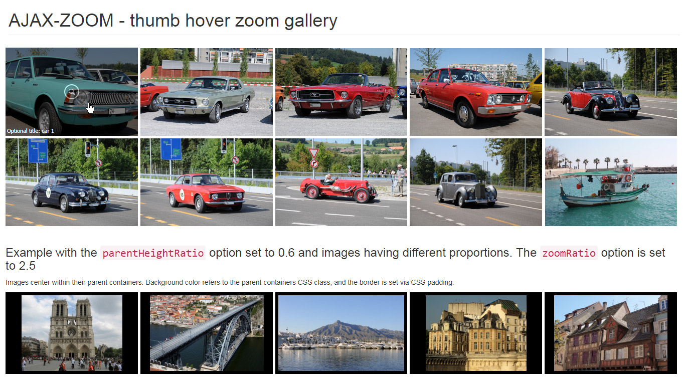 Responsive hover zoom thumbnails gallery